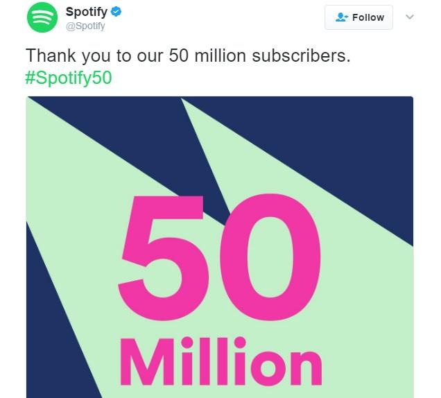 اسپاتیفای 50 میلیون کاربر دارد