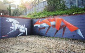 گرافیتی های حیوانات به سبک اوریگامی بر روی دیوار اثر Annatomix