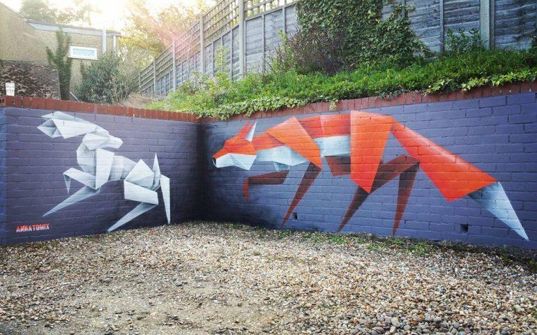 گرافیتی های حیوانات به سبک اوریگامی