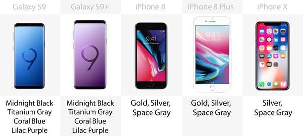 مقایسه گلکسی S9 و S9 پلاس با آیفون x ، آیفون 8 و 8 پلاس