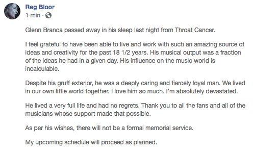 گلن برانکا Glenn Branca در 69 سالگی درگذشت