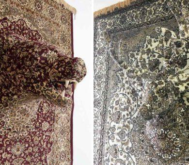 ساخت مجسمه حیوانات از فرش های قدیمی ایرانی