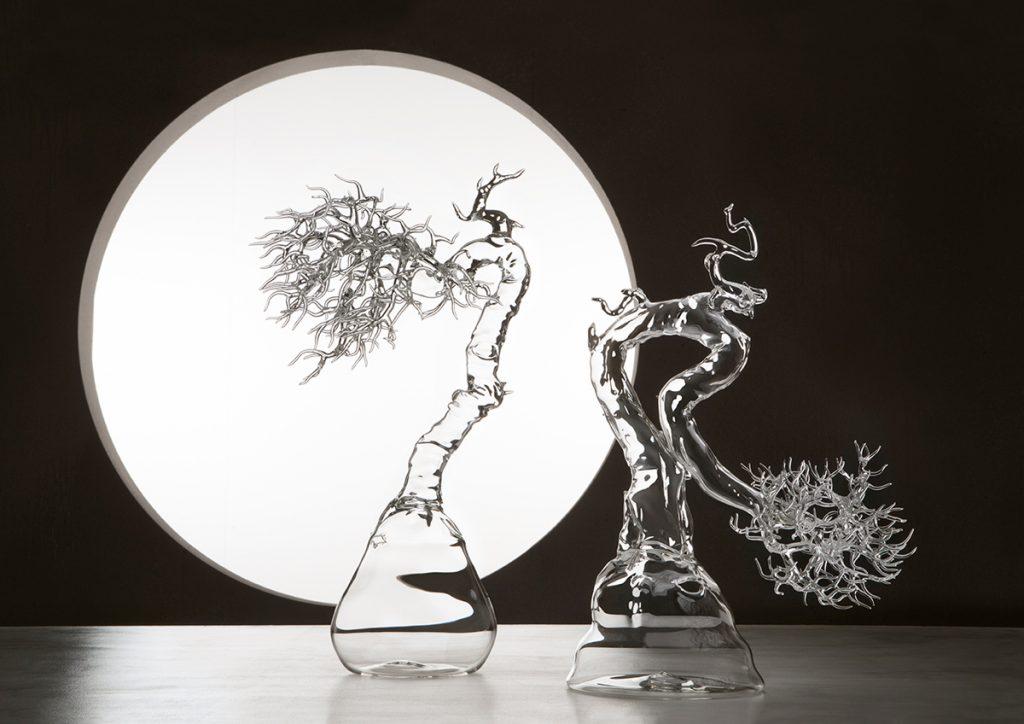 مجسمه های شیشه ای از درختان بونسای و موجودات دریایی اثر سیمون کرستانی