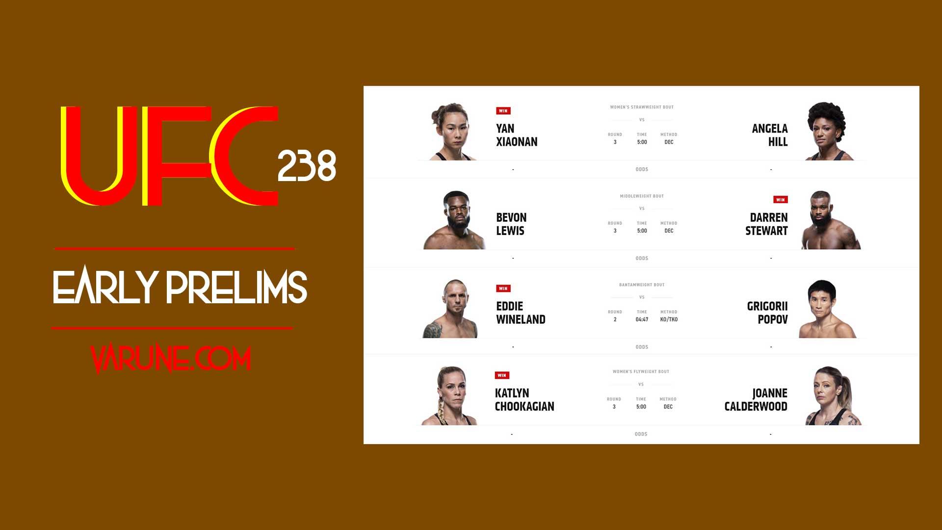 کارت ارلی پریلیمز مبارزات UFC 238