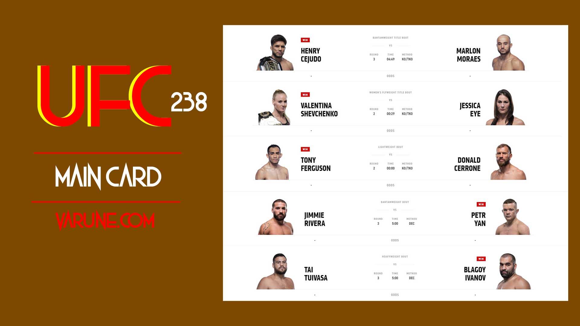 کارت اصلی مبارزات UFC 238