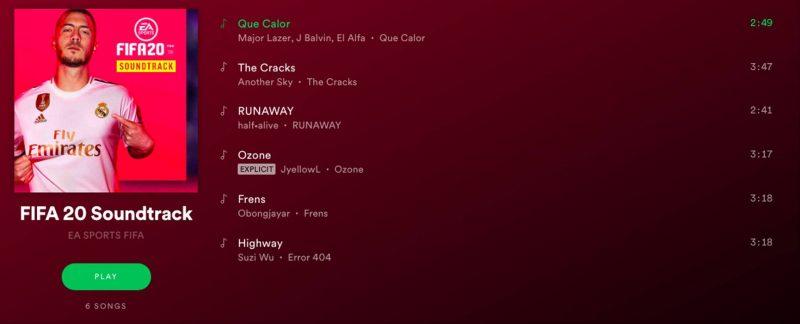 لیست آهنگهای Volta فیفا ۲۰